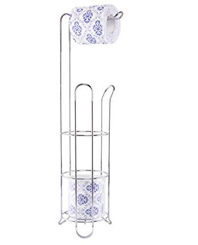 EXZACT EX-A121 Toilettenpapierhalter - freistehender Draht gerahmt Loo Roll Dispenser, Edelstahl 3/4 Rollenspeicher