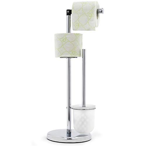 Tatkraft Wendy |Papierrollen- und Bürstenständer aus Chromstahl| Toilettenbürstenhalter mit | Einfacher Montage | Rückschlagfester Sockel | Abmessungen : 19 x 25,5 x 55 cm