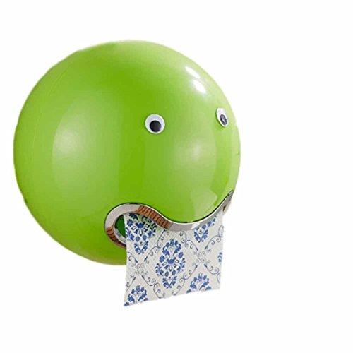 WC-Rollenhalter, Wandmontage ohne Bohren, Kunststoff-Box Rolle mit Cover, 18,5x 18.5cm, Saugnapf WC-Rollenhalterung für Bad und Küche., grün, 18.5 x18.5cm