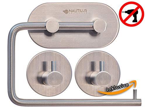 Toilettenpapierhalter Set mit passendem Handtuchhalter (2 Stück) Selbstklebend Ohne Bohren in Edelstahl Premium Qualität von Nautilus