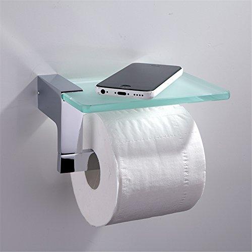 Homovater Wand montiert Badezimmer Toilettenpapierhalter mit Ablage Edelstahl und Glas Konstruktion Toilettenpapierhalter