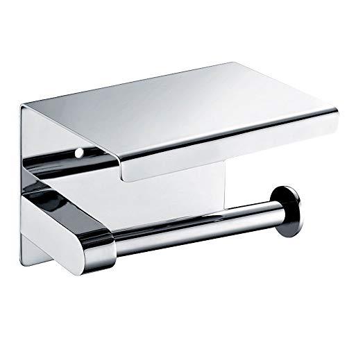 iToncs Toilettenpapierhalter Papierhalter Ohne Bohren, 304 Edelstahl 3M-Kleben, Rollenhalter Papierhalter mit Deckel für Küche und Bad