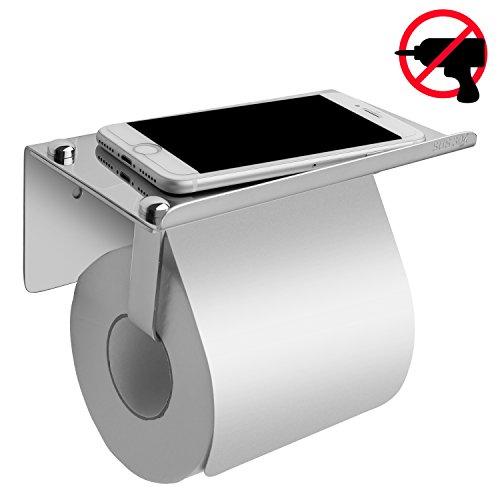 Toilettenpapierhalter mit Deckel, eSky24 Papierrollenhalter WC-Papierhalter mit praktischer Oberablage, glänzend verchromt rostfrei Design, geeignet für Klebe- oder Schraubmontage