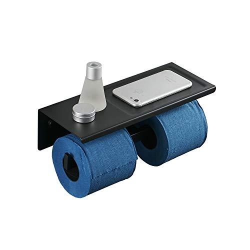 Toilettenpapierhalter Schwarz Doppel WC Papierhalter mit Ablage, Edelstahl, Wand Montage