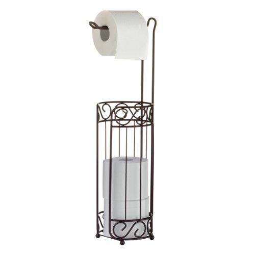 axentia WC-Papierrollenständer Nostalgie, Metall pulverbeschichtet, rostfarben, WC-Papierrollenhalter und Ersatz-Rollenablage, Maße: ca. 15 x 15 x 57 cm