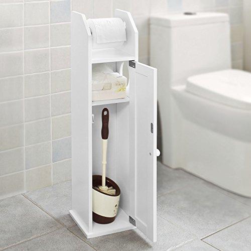 SoBuy® Stehkästchen mit Toilettenpapierhalter und Toilettenbürstenhalter, 2in 1, Badmöbel, Weiß, FRG135-W, IT