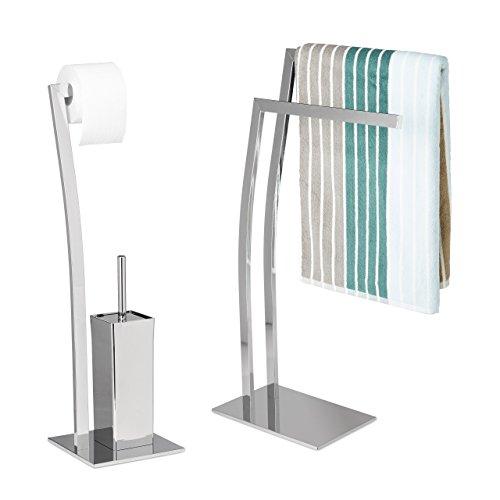 2 tlg Bad Set WIMEDO, Handtuchhalter freistehend, WC Garnitur ohne Bohren, Toilettenpapierhalter silber, Toilettenbürste