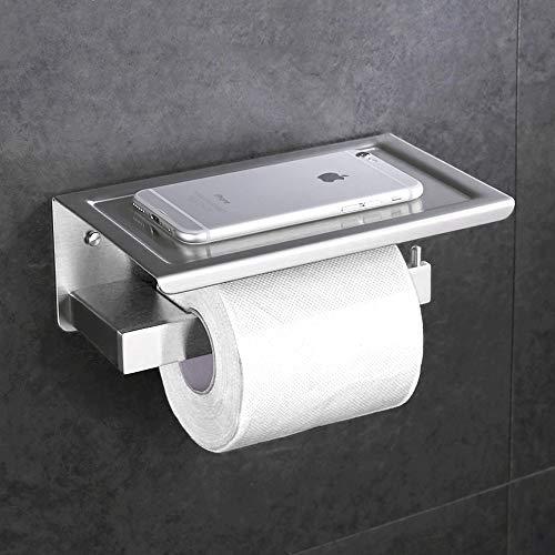 Desfau SS304 Edelstahl Toilettenpapierhalter mit Ablage Klopapierhalter Rollenhalter Handyhalter WC-Papierhalter (Matt)