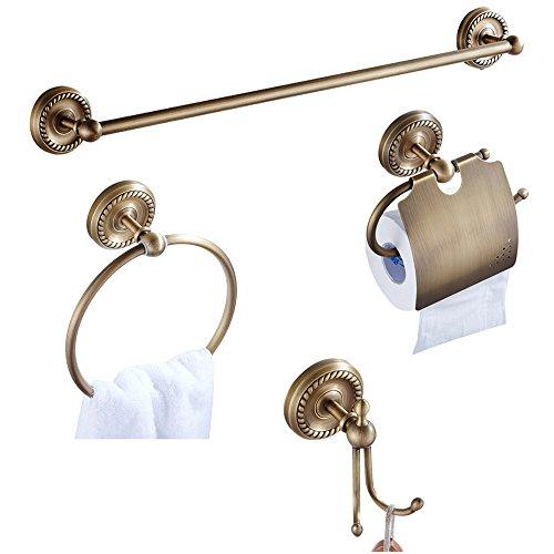 CASEWIND Antik Messing Badezimmer Accessoires Set 4 Stück, Handtuchhaken Toilettenpapierhalter Handtuchring Handtuchstange All Messing Konstruktion zum Bohren