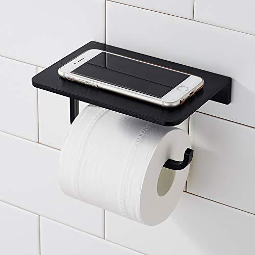 Toilettenpapierhalter ohne Bohren mit Ablage, Morfone Wandhalterung Klopapierhalter (Schwarz)