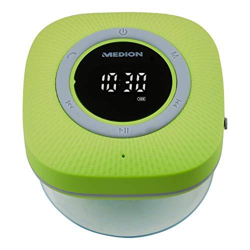 MEDION P66096 Duschradio mit Bluetooth (Badradio, UKW Radio, Saugnapf, LED-Display, IPX6 Wasserdicht, integrierter Akku) grün