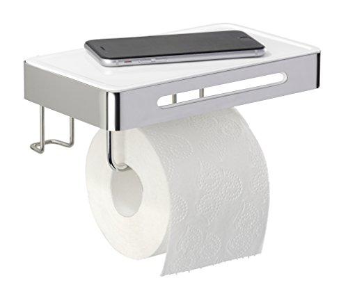 Wenko 22776100 Toilettenpapierhalter mit Ablage Premium Plus Rollenhalter mit Ablage, Edelstahl rostfrei, glänzend, 15.5 x 22 x 9.5 cm