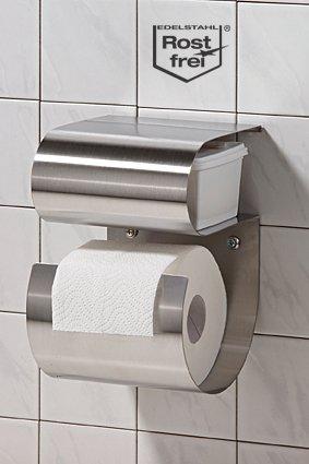 M&M Toilettenpapierhalter aus Edelstahl mit Fach für feuchte Tücher
