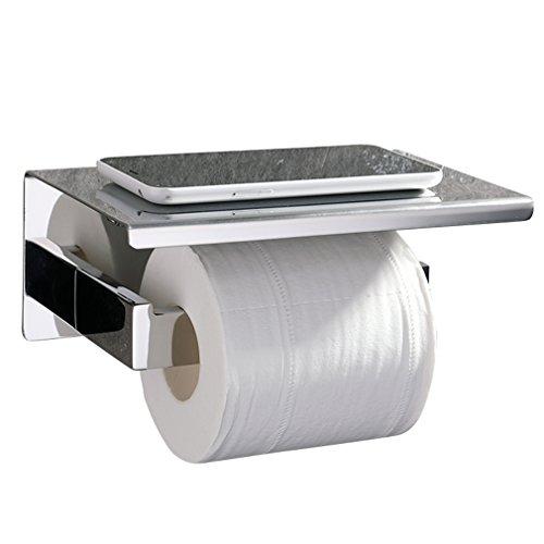 ubeegol 2 in 1 Toilettenpapierhalter Edelstahl mit Ablage Chrom Toilettenrollenhalter Bohren Wandhalter Klorollenhalter  Klopapierhalter WC Papier Halterung, Glänzend