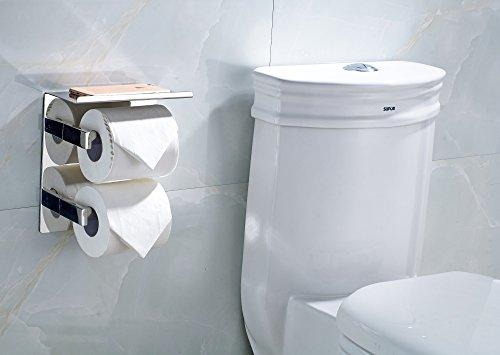 HYSENM Toilettenpapierhalter Papierrollenhalter mit Ablage 304 Edelstahl doppelt 2 Rollen zum kleben/bohren beide, Silber1