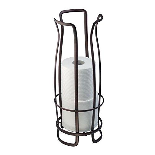 mDesign Toilettenpapierhalter ohne Bohren - Klorollenhalter fürs Badezimmer - Papierrollenhalter freistehend - Farbe: Bronze