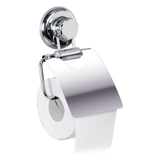 Tatkraft MegaLock Wand Toilettenpapierhalter ohne Bohren mit Saugnapf Stahl Verchromt 13X3X19cm