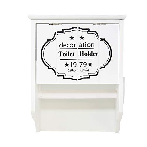 DRULINE Toilettenpapierhalter Klopapierhalter Rollenhalter Shabby Chic Landhaus Holz (Weiß - Toilet Holder 1979)