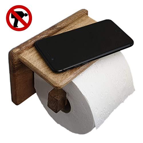 Toilettenpapierhalter ohne Bohren   handgemacht   mit Ablage   edles Mango Holz   Dekazia