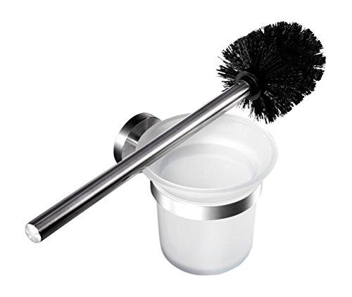 Ambrosya® | Exklusiver Toilettenbürstenhalter aus Edelstahl | Bad Badezimmer Glas Halter Klobürste Klobürstenhalter Toilette Toilettenbürste WC-Garnitur (Edelstahl (Gebürstet))