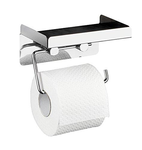 Wenko 22217100 Toilettenpapierhalter 2 in 1, Edelstahl rostfrei, 16 x 12,5 x 11,5 cm, glänzend