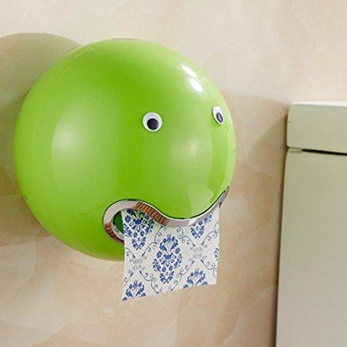 URUNIQ WC-Rolle Halter Wandmontage Ohne Bohren Rolle–Topf Tissue Box mit Seidenpapier Toilettenpapierhalter Cover 18,7cm Halterung Saugnapf für Badezimmer & Küche Modern Medium Grün