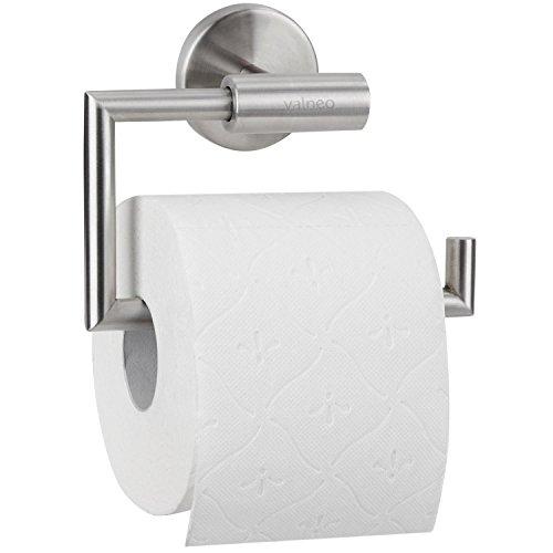 VALNEO Design Toilettenpapierhalter aus Edelstahl, gebürstete Oberfläche, matt - Klopapierrollenhalter, Klopapierhalter