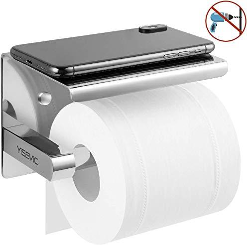 Yissvic Toilettenpapierhalter aus Edelstahl 304 Installation mit Kleber oder Löcher Oberfläche glänzend mit Handyhalter