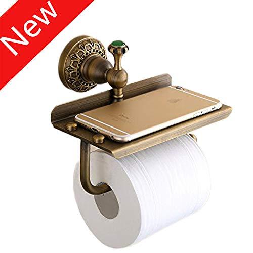 Toilettenpapierhalter, Papierrollenhalter Klopapierhalter mit Ablage für Mobiltelefon, Wandmontage Papierhalter für Badzimmer,Kupfer,Antikes Messing