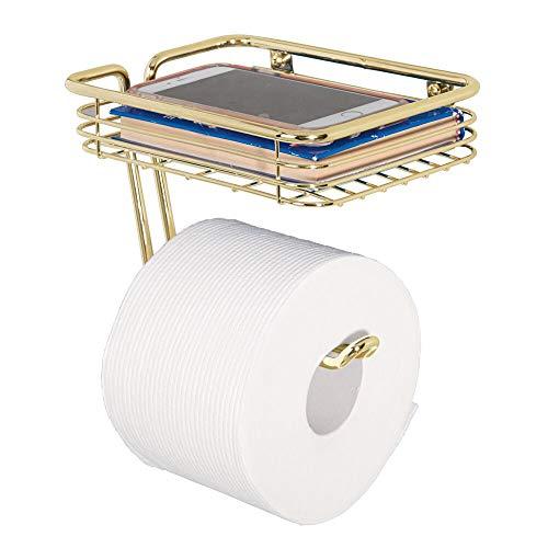 mDesign Toilettenpapierhalter mit Ablagefläche – praktischer Toilettenrollenhalter aus Metall – inkl. Ablage für Feuchttücher, Magazine etc. – moderner Klopapierhalter – messingfarben
