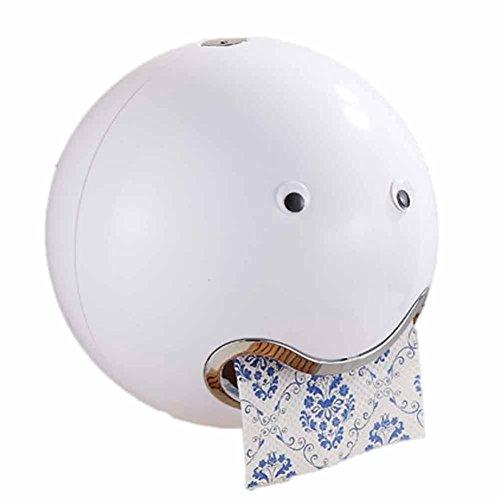 HKFV Ball Shaped Nette Emoji Bad Wc Wasserdichte Toilettenpapier Box Rolle Sauger Toilettenpapier Box Schublade Gewebebox Halter Spitze Toilettenpapierbox (Weiß)