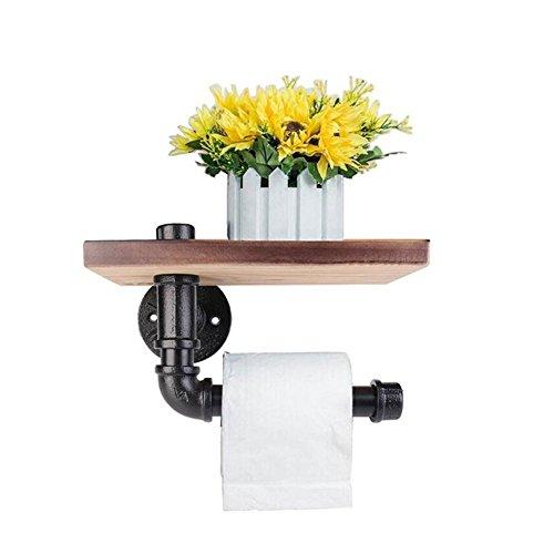 Toilettenpapierhalterung Retro Wandmontierte Hölzerne Lagerung Regal Eisen Rohr Tissue Roll Aufhänger mit Holz Regal