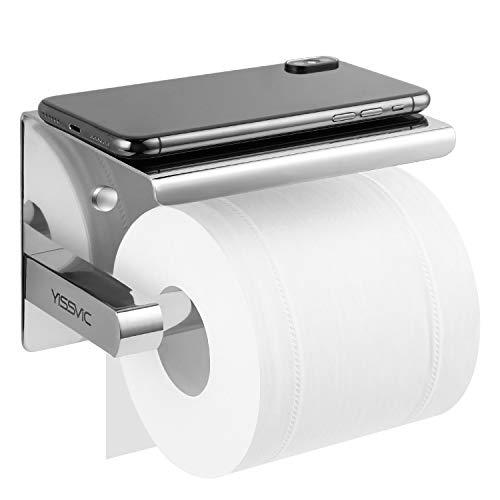 Yissvic Toilettenpapierhalter Ablage Klopapierrollenhalter Installation mit Schrauben oder 3M-Kleber 304 Edelstahl Hochglänzend Verpackung MEHRWEG