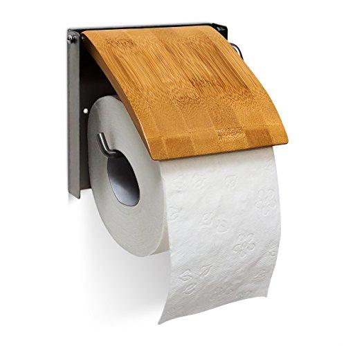 Relaxdays 10019179 Toilettenpapierhalter H x B x T: 13,5 x 14,5 x 13,5 cm WC-Rollenhalter für 1 Klopapierrolle zur Wandmontage aus Bambus und rostfreiem Edelstahl als Wandrollenhalter für das Badezimmer, natur