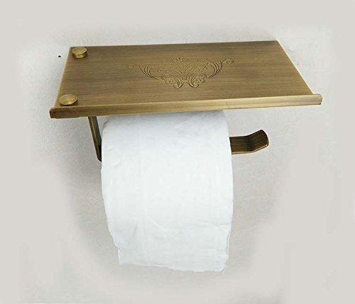 LiebHome Luxus Antik Stil Toilettenpapierhalter Bronzefarbe poliert Messing Klopapierhalter / multifunktional papierhalter mit Smartphone Ablage für Badzimmer schöne Muster Design