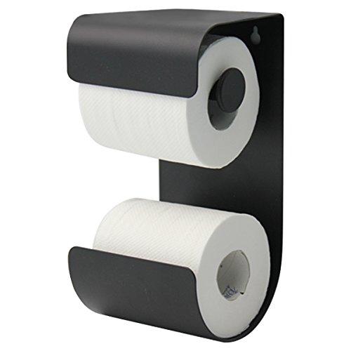 Sealskin Brix Toilettenpapierhalter mit integriertem Reserverollenhalter, Metall, Farbe: Schwarz