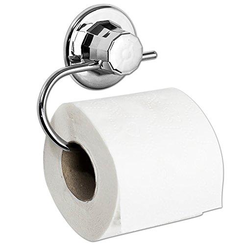 Klopapierhalter - Klorollenhalter - Toilettenpapierhalter mit Ring u. Vakuum Befestigung