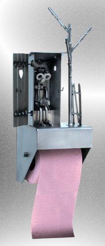 """Boystoys HK Design - Toilettenpapierhalter """"WC-Häuschen mit Herz"""" Metall Art Klopapierhalter - Original Schraubenmännchen Kollektion - handgefertigte Geschenkidee"""