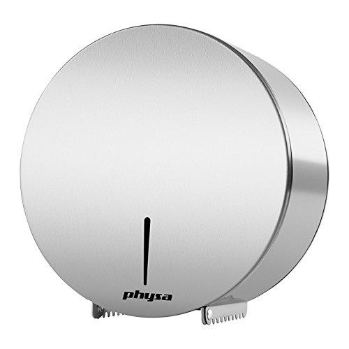 Physa FOGGIA SILVER Toilettenpapierspender Toilettenpapierhalter (für Jumbo-Rollen, max. Ø 260mm, inkl. Schlüssel, Edelstahl) Silber