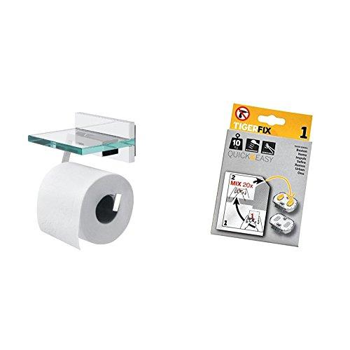 Tiger Safira Toilettenpapierhalter mit Deckel Glas/Chrom, inklusive Tigerfix-Klebesystem zum Befestigen ohne Bohren