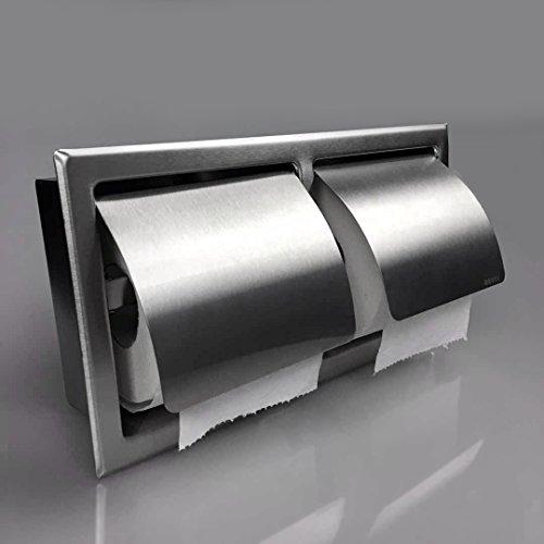 Einbau Toilettenpapierhalter, 2 Fach, Matt, Horizontal, Unterputz aus Edelstahl