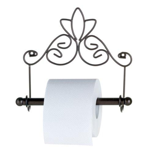 axentia Toilettenpapierhalter Nostalgie, Metall pulverbeschichtet, rostfarben, Handtuchhalter inklusive Befestigungsmaterial, Maße: ca. 24 x 10 x 20,5 cm