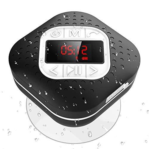 AGPTEK Bluetooth 4.1 Duschradio mit LED Digitalem Bildschirm, Saugnapf, IPX4 Wasserdicht Wireless FM Radio Lautsprcher mit Wahlwiederholung und Freisprechenfunktion, für Outdoor, Dusche, Schwarz