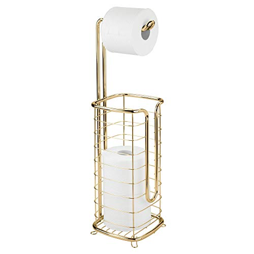 MetroDecor mDesign Toilettenpapierhalter ohne Bohren – freistehender Klorollenhalter fürs Badezimmer – quadratischer Papierrollenhalter für Vier Rollen – messingfarben