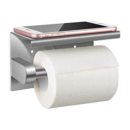 Toilettenpapierhalter ohne Bohren mit Ablage, Jelife Klopapierhalter Selbstklebend (2 Stück Kleber), Klorollenhalter Wandhalterung Rollenhalter WC Papier Halterung, 304 Edelstahl Matt