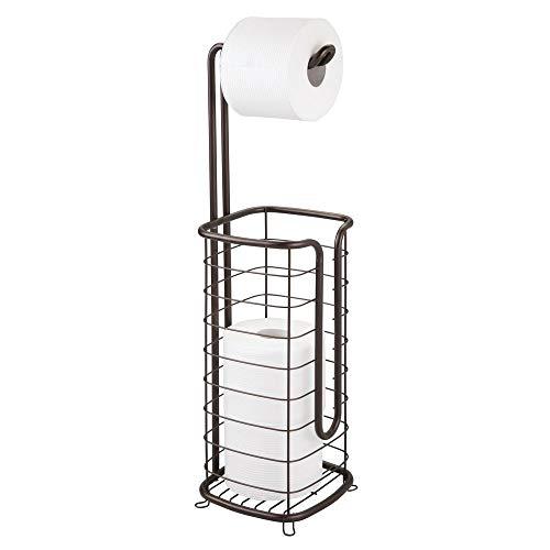 MetroDecor mDesign Toilettenpapierhalter ohne Bohren – freistehender Klorollenhalter fürs Badezimmer – rostfreier Papierrollenhalter für Vier Rollen – mattsilberfarben