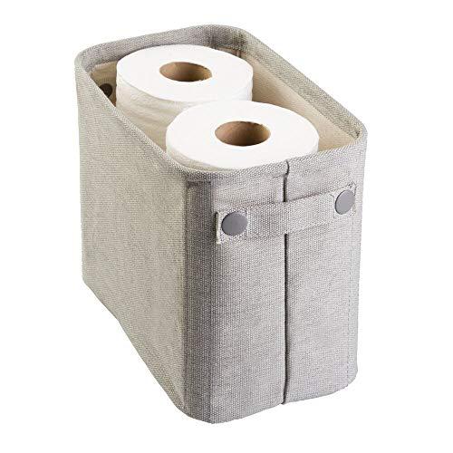 mDesign Toilettenpapierhalter (klein) aus Baumwolle – auch als Aufbewahrungskorb für Handtücher und Zeitungen – elegante Toilettenpapier-Aufbewahrung – hellgrau