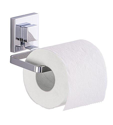 Wenko 22687100 Vacuum-Loc Toilettenpapierhalter Quadro WC-Rollenhalter, Edelstahl rostfrei, Glänzend, 11 x 14 x 6 cm