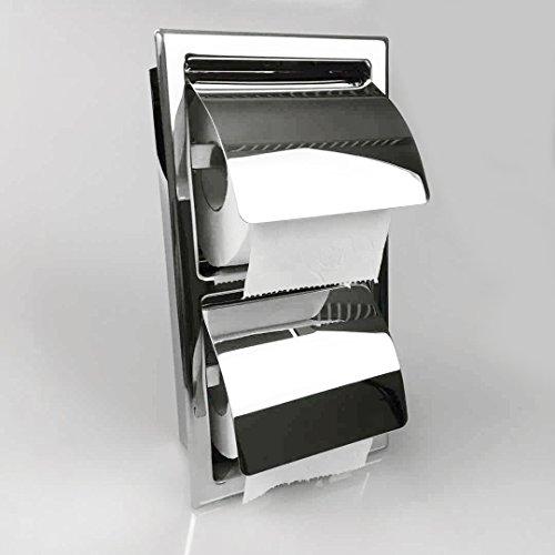 Einbau Toilettenpapierhalter, 2 Fach, Glänzende, Vertikal, Unterputz aus Edelstahl