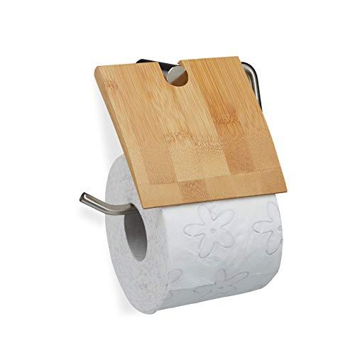 Relaxdays Toilettenpapierhalter aus Bambus, Klopapierhalter fürs Bad, Wandmontage, Klorollenhalter HxB 16x16,5 cm, Natur